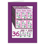 SISTER - Happy 36th Birthday Greeting Card