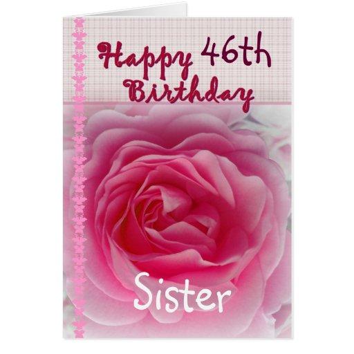 Sister Happy 46th Birthday Pink Rose Card Zazzle Happy 46 Birthday Wishes