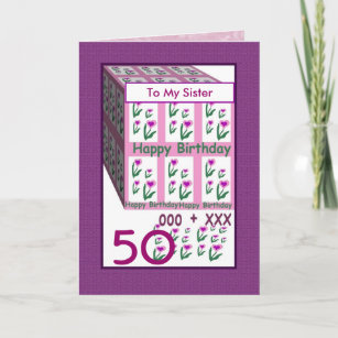SISTER Happy 50th Birthday Card