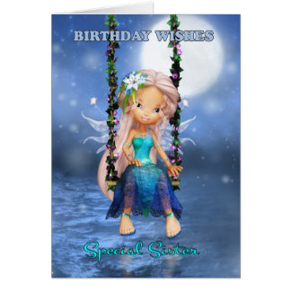 Sister Happy Birthday cute fairy on a floral swing Card