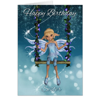 Sister Happy Birthday cute fairy on flower swing, Cards