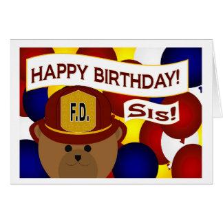 Sister - Happy Birthday Firefighter Hero! Card
