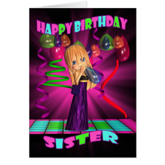 Sister Happy Birthday with Cute little Cutie Pie b Greeting Card