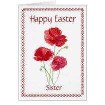 Sister Happy Easter Flower, Poppy Card
