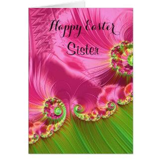 Sister / Happy Easter - Pink/Lime Green Fractal Card