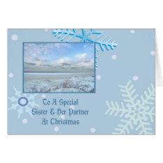 Sister & Her Partner Winter Lake Christmas Card at Zazzle