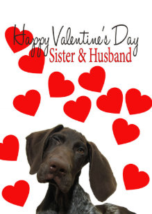 Sister & Husband Glossy Grizzly Valentine Holiday Card