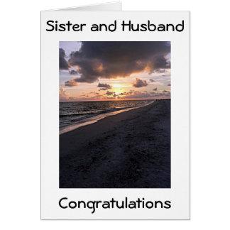 SISTER/HUSBAND ON WEDDING DAY WITH BEACH SCENE CARD
