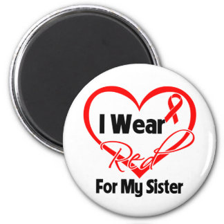 Sister - I Wear a Red Heart Ribbon 2 Inch Round Magnet
