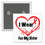 Sister - I Wear a Red Heart Ribbon 2 Inch Square Button
