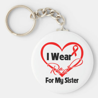 Sister - I Wear a Red Heart Ribbon Keychain