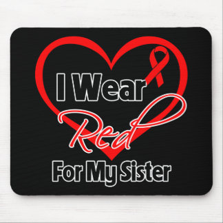 Sister - I Wear a Red Heart Ribbon Mouse Pads