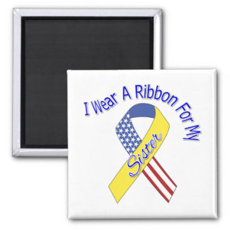 Sister - I Wear A Ribbon Military Patriotic 2 Inch Square Magnet