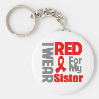 Sister - I Wear Red Ribbon Basic Round Button Keychain