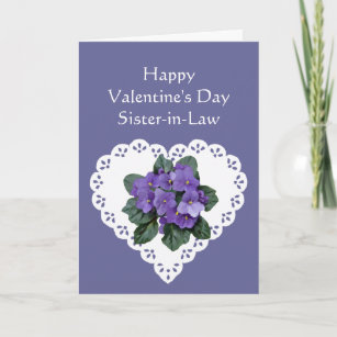 Sister-in-Law African Violet Flower Valentine Poem Holiday Card