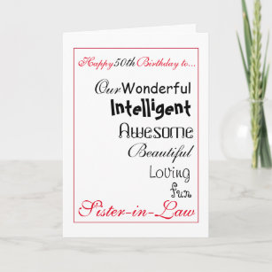 Sister In Law Birthday Card 50th Femalegirls