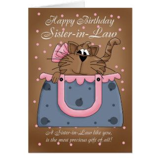 Sister-in-Law Birthday Card - Cute Cat Purse Pet