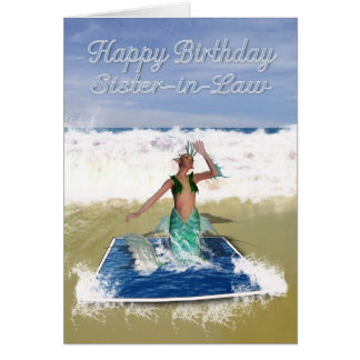 Sister-In-Law Birthday Card - Fantasy Art Mermaid
