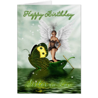 Sister in Law, Birthday Card - Fantasy Swan Fairy