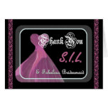 Sister-in-Law Bridesmaid THANK YOU - Purple Gown Greeting Card