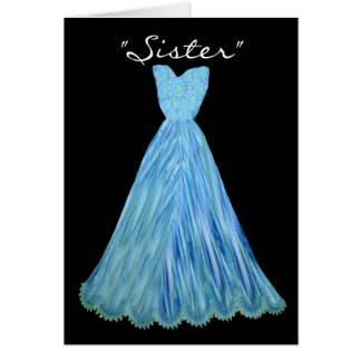 SISTER-in-LAW Bridesmaid TURQUOISE BLUE Dress Greeting Card