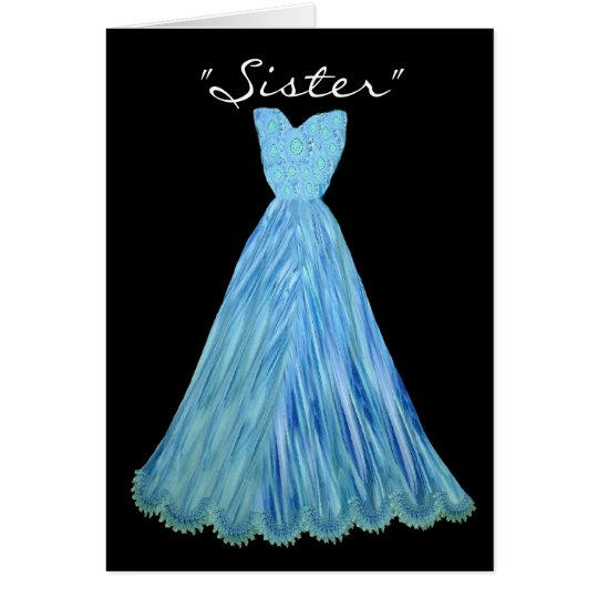 SISTER-in-LAW Bridesmaid TURQUOISE BLUE Dress Card
