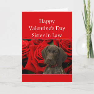 Sister in Law  Glossy Grizzly Valentine Puppy Love Holiday Card