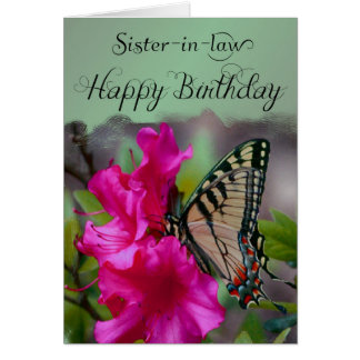 Sister-in-Law / Happy Birthday - Butterfly Card