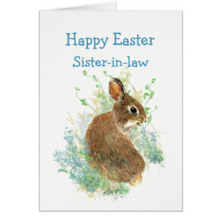 Sister-in-law Happy Easter Cute Bunny Rabbit Card