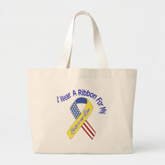 Sister-in-Law - I Wear A Ribbon Military Patriotic Large Tote Bag