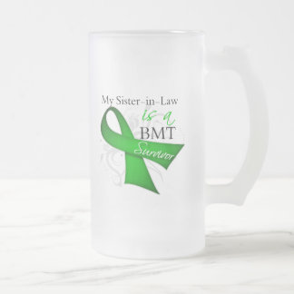 Sister-in-Law is a Bone Marrow Transplant Survivor 16 Oz Frosted Glass Beer Mug