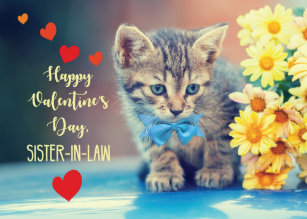 Sister-in-Law Love Valentine Kitten Yellow Daisies Card