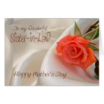 Sister-in-Law, Mother's day card with a pink rose
