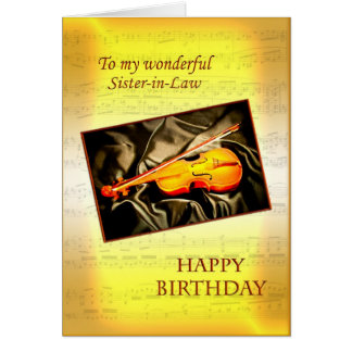 Sister-in-Law musical birthday card with a violin