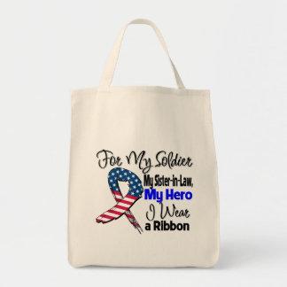 Sister-in-Law - My Soldier, My Hero Patriotic Ribb Tote Bag