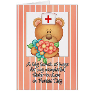 Sister-in-Law Nurses Day Card With Nurse Teddy Be