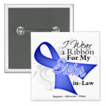 Sister-in-Law Periwinkle Ribbon - Stomach Cancer 2 Inch Square Button