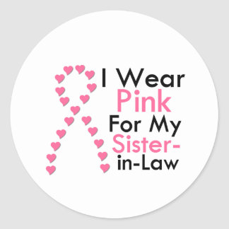 Sister-in-Law Pink Ribbon Breast Cancer Stickers
