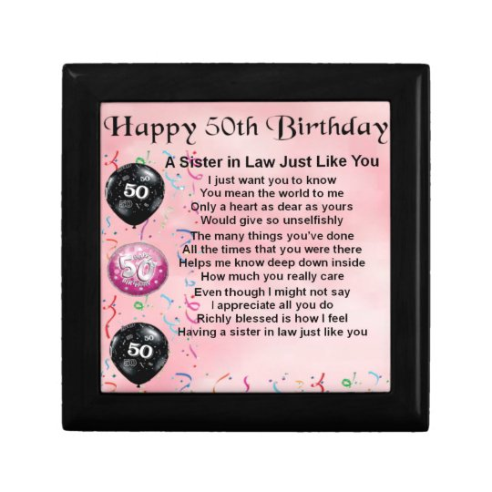 Sister In Law Poem - 50th Birthday Jewelry Box