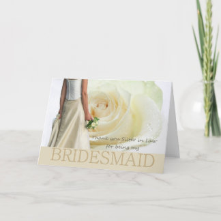 Sister in Law Thank You Bridesmaid White rose