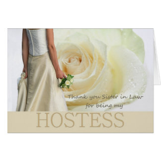 Sister in Law Thank You Hostess White rose Card