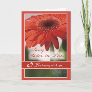 Sister-in-Law Valentine Gerber Daisy Holiday Card