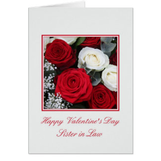 Sister in Law Valentine's Day red and white roses Card