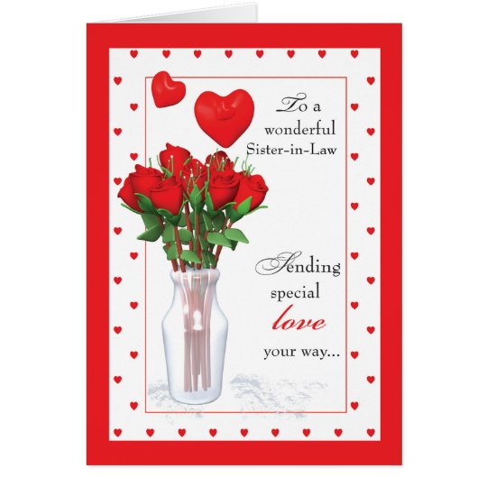 SisterinLaw Valentines Day Red Roses Hearts Card  Zazzlecom