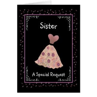 SISTER - Junior Bridesmaid - Peach and Mauve Dress Greeting Card
