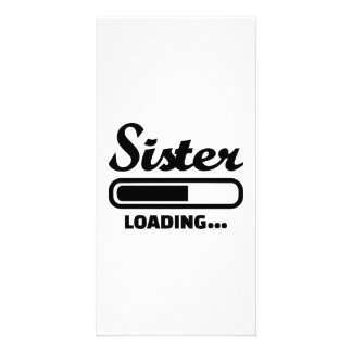 Sister loading personalized photo card