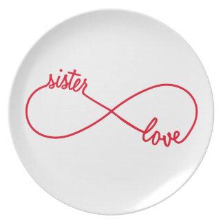 Sister love, infinity sign melamine plate