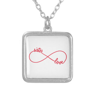 Sister love, infinity sign silver plated necklace