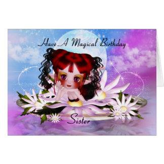 Sister Magical Fairy Birthday Greeting Card