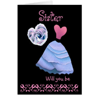 SISTER Maid of Honor - Blue Frilly Dress & Heart Card
